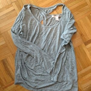 F21 grey top twisted back